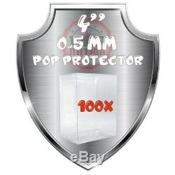 100x Heavy Duty 0.5mm Clear Display Plastic Funko Pop 4 Inch Protector Box Case