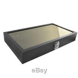 12 Black Glass Lid Top Utility Jewelry Hobby Display Storage Sales Box Cases