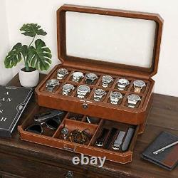 12 Slot Leather Watch Box with Valet Drawer Luxury Watch Case Display