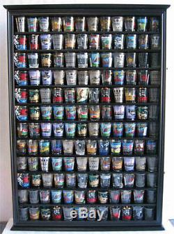 144 Shot Glass Display Case Wall Rack Cabinet Shadow Box LOCKABLE SC16L-BLA