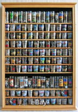 144 Shot Glass Display Case Wall Rack Cabinet Shadow Box LOCKABLE SC16L-OA