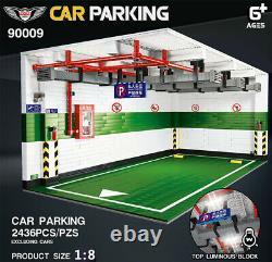 18 Model Car Parking Display Case Showcase Building Blocks Light Bricks DIY MOC