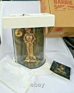 1990 GOLD Bob Mackie Barbie Doll DISPLAY CASE + POSTER + SHIPPER Box