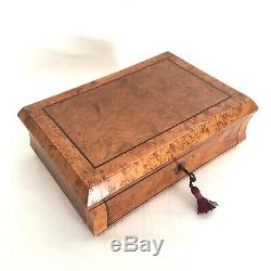 19th Century Maple Bur Inlay JEWELLERY Trinket Display Case Box & Key