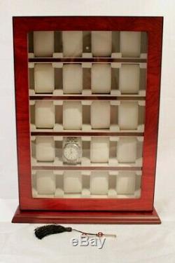 20 Wrist Watch Storage Cabinet Chest Box Display Wooden Case Bubinga Wood Veneer