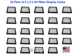 24 Pack of 5 x 6 x 3/4 Riker Display Cases Box for Collectibles Jewelry & More