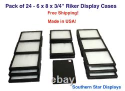 24 Pack of 6 x 8 x 3/4 Riker Display Cases Box for Collectibles Jewelry & More