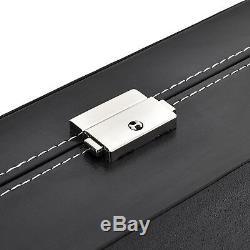 24 Slot Watch Box Leather Display Case Organizer Top Glass Jewelry Storage Black