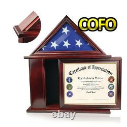 3'×5' Flag Display Case With Certificate And Document Holder Burial Shadow Box