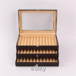 3 Layer Fountain Pen Display Case Holder Storage Collector Organizer Box 36