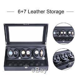3 Motors Automatic Rotation 6+7 Watch Winder Storage Case Display Box