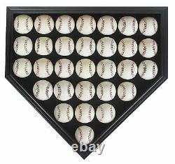 30 Baseball Display Case Cabinet Shadow Box, UV Protection door