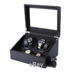 4+6 Automatic Rotation Watch Winder Leather Wood Storage Case Display Box Black