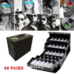 48 Slot Luxurious Eyeglasses Sunglasses Display Storage Organizer Case Lock Box