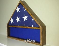 5 X 9 Oak Flag & Memorabilia Display Case Military Shadow Box Funeral Burial USA