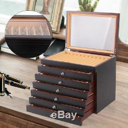 6-Layer Wooden Box Fountain Pen Display Storage Wood Case for 78 Pens USA STOCK