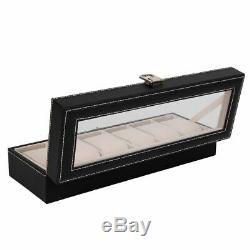 6 Slot Leather Watch Box Display Case Organizer Glass Top Jewelry Storage