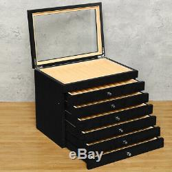 78 Fountain Pens Display Case Holder Organizer Wood Storage Box Slot 6 Layer