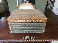 A Vintage Richardsons Silk Thread Spool Cabinet 3 Drawer Dovetailed Wooden Case