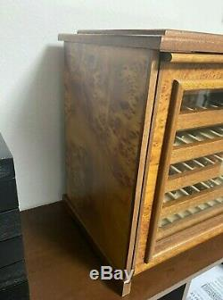 AGRESTI 60 Pen Display Box Trunk with key in BRIARWOOD and SUEDE Mint