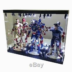 Acrylic Display Case Light Box for 3 12 1/6th Scale Figure Pepper Potts Mark IX