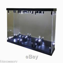 Acrylic Display Case Light Box for THREE 12 1/6 Scale Hot Toys Iron Man Figure