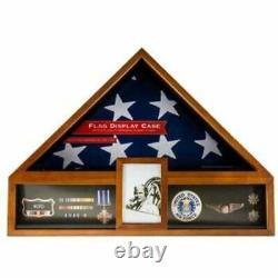 American Flag Display Oak Case Military Memorial Shadow Box Veteran Exhibit New