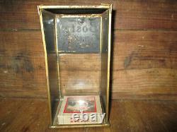 Antique 1915 Metal & Glass Boston Garters Display Case 1 Box Nos Garters