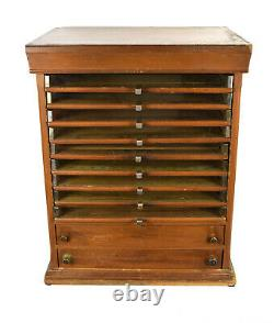 Antique General Store Spool Display Cabinet w Glass Front Drawers Jewelry Box
