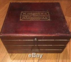 Antique M Hohner Harmonica Display Case Wooden Box General Store