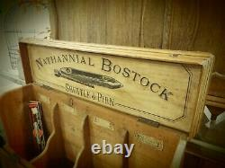 Antique Nathannial Bostock Shuttle And Pirn Store Display Cabinet- Box With Flip