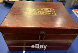 Antique Vintage M Hohner Harmonica Display Case Wooden Box General Store