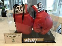 Autographed Muhammad Ali Boxing Gloves (left Glove Signed) With Display Case And