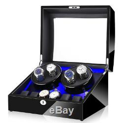 Automatic Rotation 4+6 Watch Winder Display Box Case Black withLED light, withAdapter
