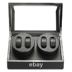 Automatic Rotation Watch Winder Carbon Fiber Jewelry Storage Case Display Box