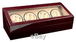 Automatic Watch Winder Red Wood Dual Double Quad 8 + 12 Storage Display Case Box