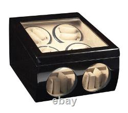 Automatic Watch Winder Storage Display Case Box Black Wood Dual Double Quad 8+ 4