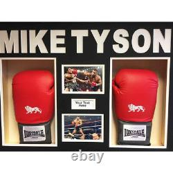 BOXING GLOVE DISPLAY CASE/ 3D BOX FOR 2x Mike Tyson Signed Gloves with 3d Text