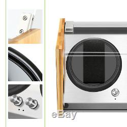 Bamboo Crystal Automatic Rotation Luxury Double Watch Winder Display Case Box