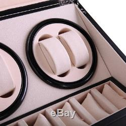 Black 4+6 Automatic Rotation Leather Wood Watch Winder Storage Display Case Box
