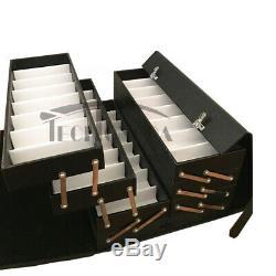 Black Box Organizer Display Case for 64 Eyeglasses Sunglasses PU Material