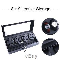Black Leather 8+9 Automatic Rotation Watch Winder Storage Display Case Box New