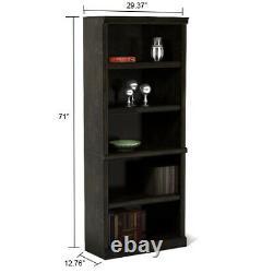 Bookcase Tall Wood Bookshelf Modern Display Bookcases Large 5-Shelf Black NEW