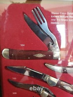 CASE KNIFE FACTORY WALNUT DISPLAY CABINET With 8 new knives and boxes