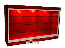 Cherry Wall Mounted Display Showcase with Glass Doors, Shelves, Lights, & Lock