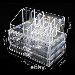 Clear Acrylic Cosmetic Organiser with Drawers Makeup Jewelry Display Box Case