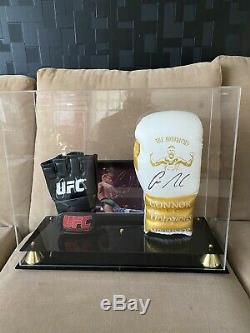 Conor Mcgregor Signed UFC & Boxing Glove and Picture In Display Case With COAs