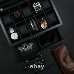 Decorebay Busy Man Luxury Watch Box Display Case and Jewelry Organizer for Men