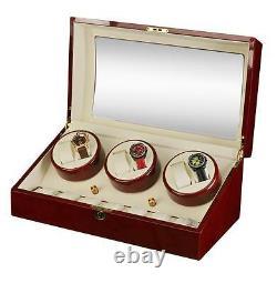 Diplomat Estate Cherrywood Six 6 Watch Winder Wood Display Storage Case Box