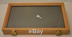 Display Case Oak en Box Glass Top Collectibles Memorabilia Medals Coins